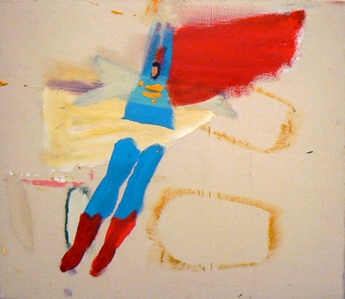 Katherine Bradford, Clear Underpants, 2011, acrylic on raw canvas, 28h x 32w in.