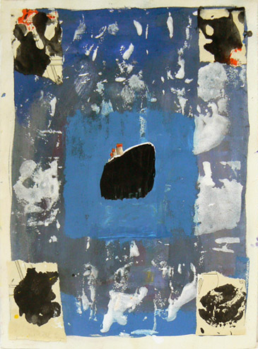 Katherine Bradford, Liner with Corners, 2011-2012, gouache on paper, with collage, 15h x 11w in.