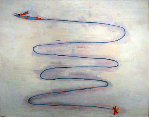 Katherine Bradford, Long Flight, 2011, oil on canvas, 66h x 36w in.