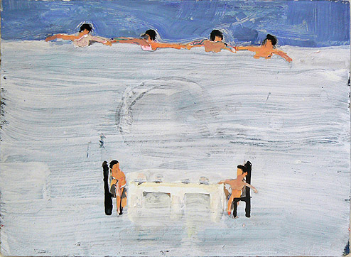 Katherine Bradford, Naked Lunch, 2011-2012, gouache on paper, with collage, 11h x 15w in.