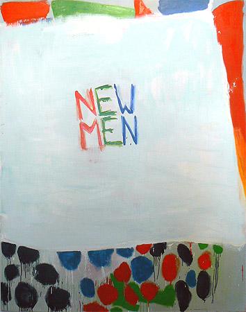 Katherine Bradford, New Men, 2011, oil on canvas, 80h x 60w in.