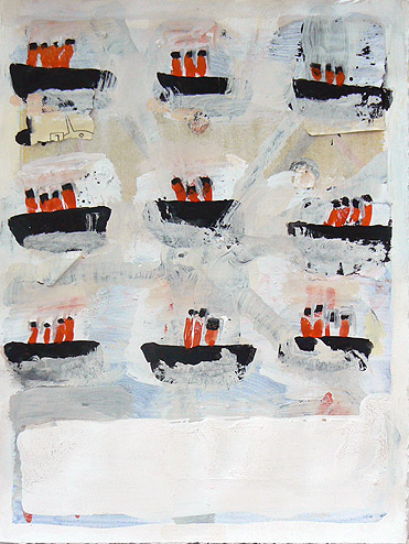 Katherine Bradford, Page of Ships, 2011-2012, gouache on paper, with collage, 15h x 11w in.