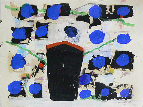 Katherine Bradford, Ship Blue Dots, 2011-2012, gouache on paper, with collage, 11h x 15w in.
