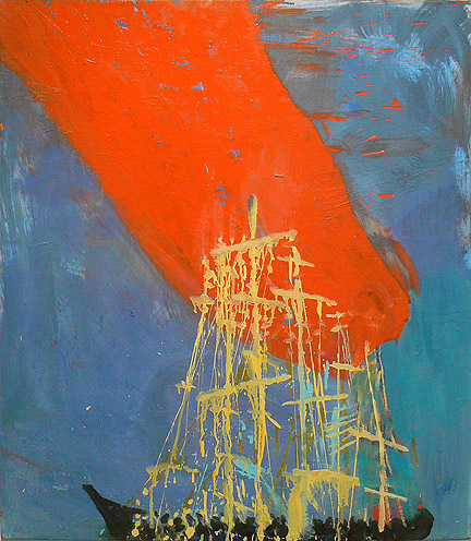 Katherine Bradford, Ship Blue/Red, 2011, oil on canvas, 32h x 28w in.