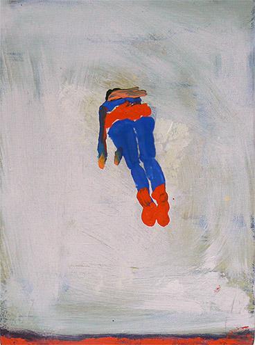Katherine Bradford, Superman Responds, 2011, oil on canvas, 12h x 9w in.