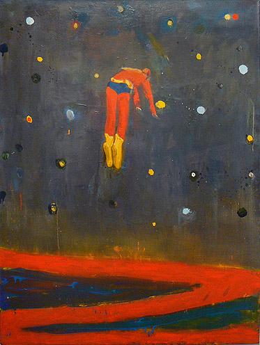 Katherine Bradford, Superman Responds, Night, 2011, oil on canvas, 48h x 36w in.
