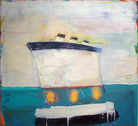 Katherine Bradford, White Ship,  2009-2012, oil on canvas, 44h x 36w in.