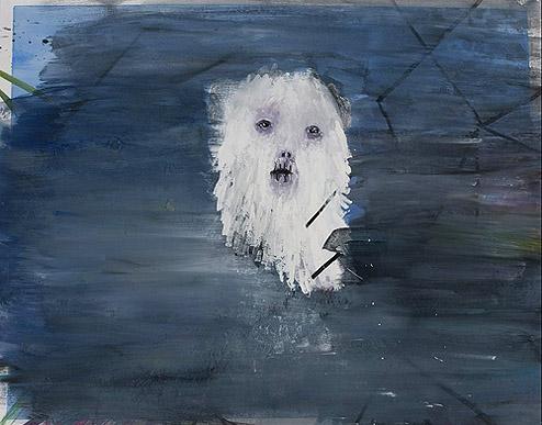 Sarah Gamble, Sad Guy in Blue Vortex , 2012, Mixed media, 19h x 24w in.