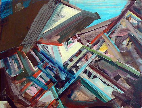 Kurt Lightner, Sinking House Series , 2010, Acrylic on panel, 14h x 18w in.