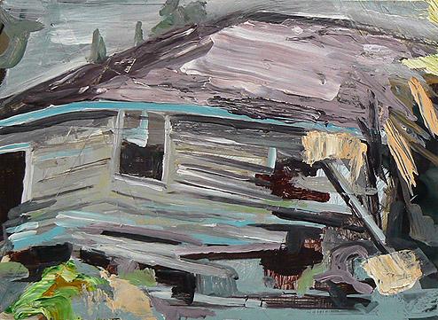 Kurt Lightner, Sinking House Series , 2011, Acrylic, collage on panel, 12h x 16w in.