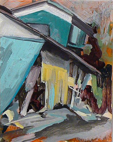 Kurt Lightner, Sinking House Series , 2011, Acrylic on panel, 14h x 11w in.