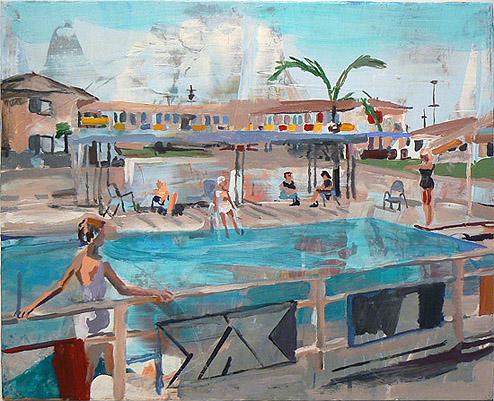 Elizabeth Huey, The Diver , 2012, Acrylic on wood panel, 20h x 24w in.