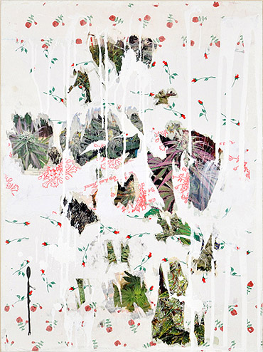 Andrew Guenther, Water Lilies I , 2012, Paper collage, acrylic on canvas, 30h x 22.25w in.