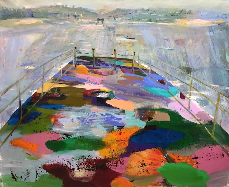Judith Simonian, Ferry Boat, 2017, acrylic on canvas, 58h x 72w in.