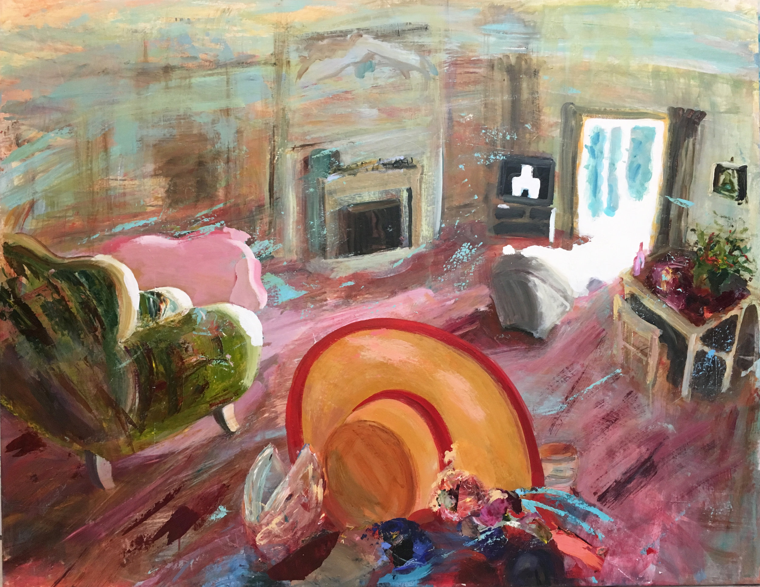 Judith Simonian, Party Hat, 2017, acrylic on canvas, 50h x 64w in.