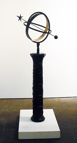 Johannes Dahl, 1921,  Sundial , Swedish forged and cast iron, raised on a pedestal, 63h x 34w x 17d in., Signed and dated