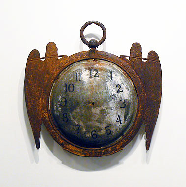 Clock Trade Sign, c. 1870s, Double sided with pair of Father Time figures in case iron with tin faces, 19th c. Repaint to numerals, 28 x 28 x 2.5 inches