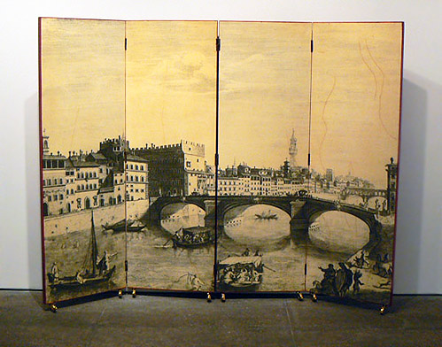 Piero Fornasetti, 1940s, Screen, Four panel transfer-decorated and red lacquered screen, decorated with, Italian canal scene, on castors, 61h x 20w in., each panel