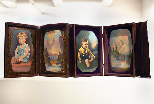 Anonymous, American, c. 1920s                                                                             , Salesman's Samples, Examples of hand colored photographs/landscape painting, 17h x 11w x 3.5d in.