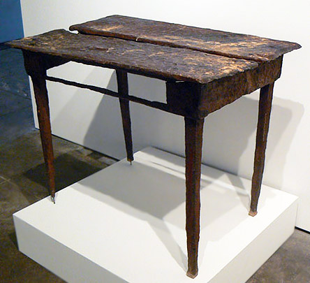 Anonymous, American, c. early 20th century, Table, Wood, Found in Maine cabin, decades of off season feeding by porcupines, 28.75h x 39w x 25.5d in.
