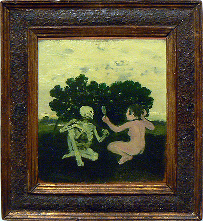 Albert York, c. 1964,  Woman and Skeleton , Oil on canvas mounted on masonite, 12h x 11w in. (framed)