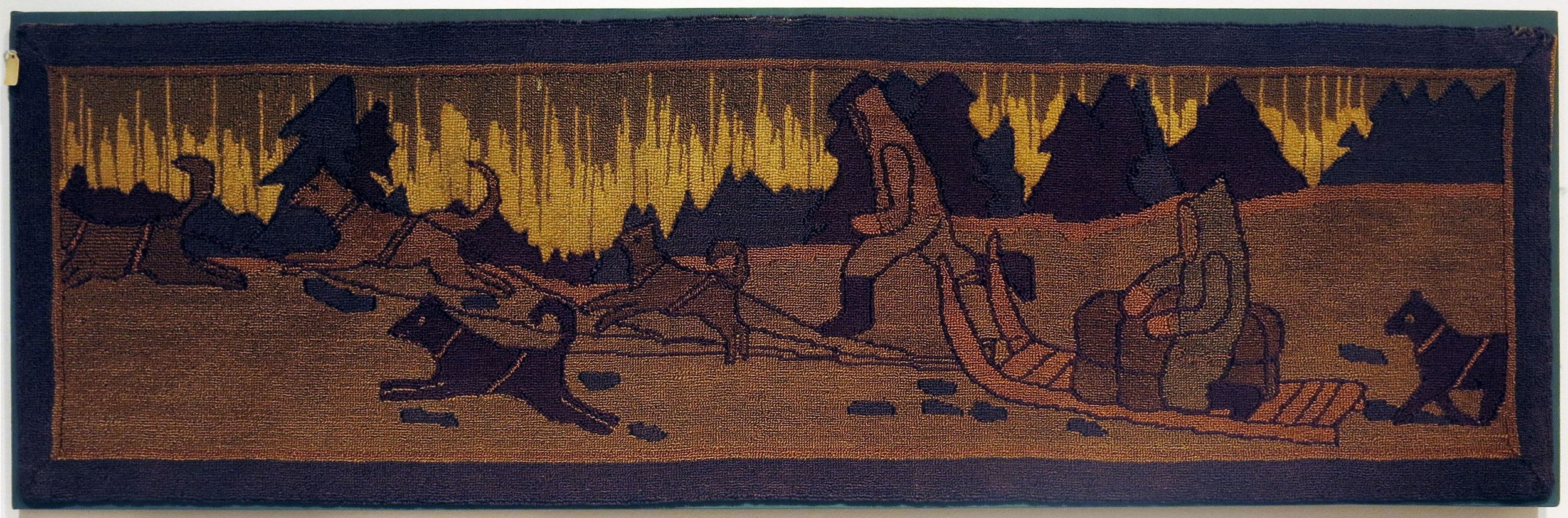 Anonymous, The Grenfell Mission, Dog Team with Northern Lights, produced by 1930, burlap and cotton; dyed, 15h x 49w in.