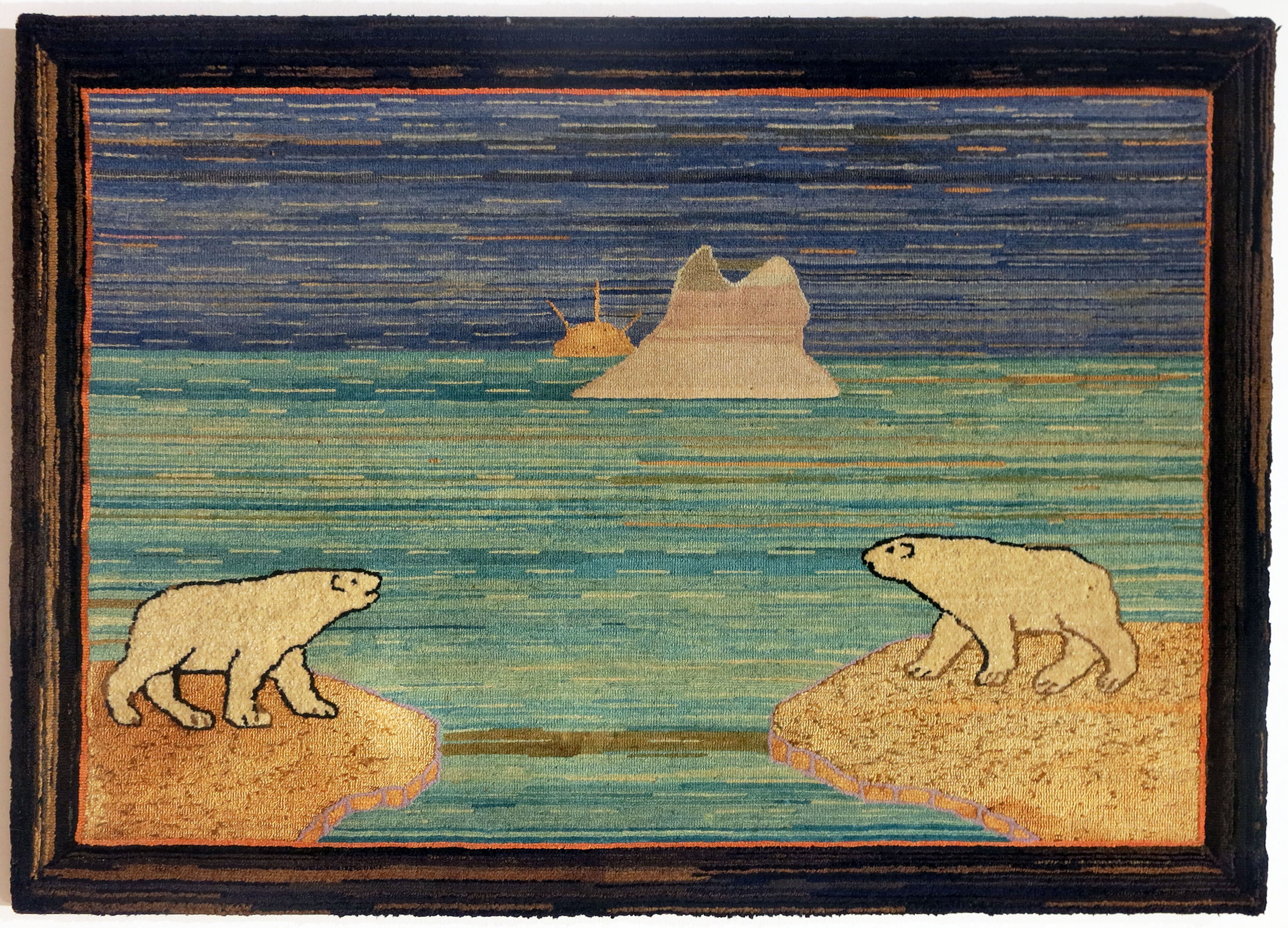 Anonymous, The Grenfell Mission, Two Polar Bears on Ice!, produced by 1916, cotton, wool, silk, and rayon; dyed, 27h x 39w in.