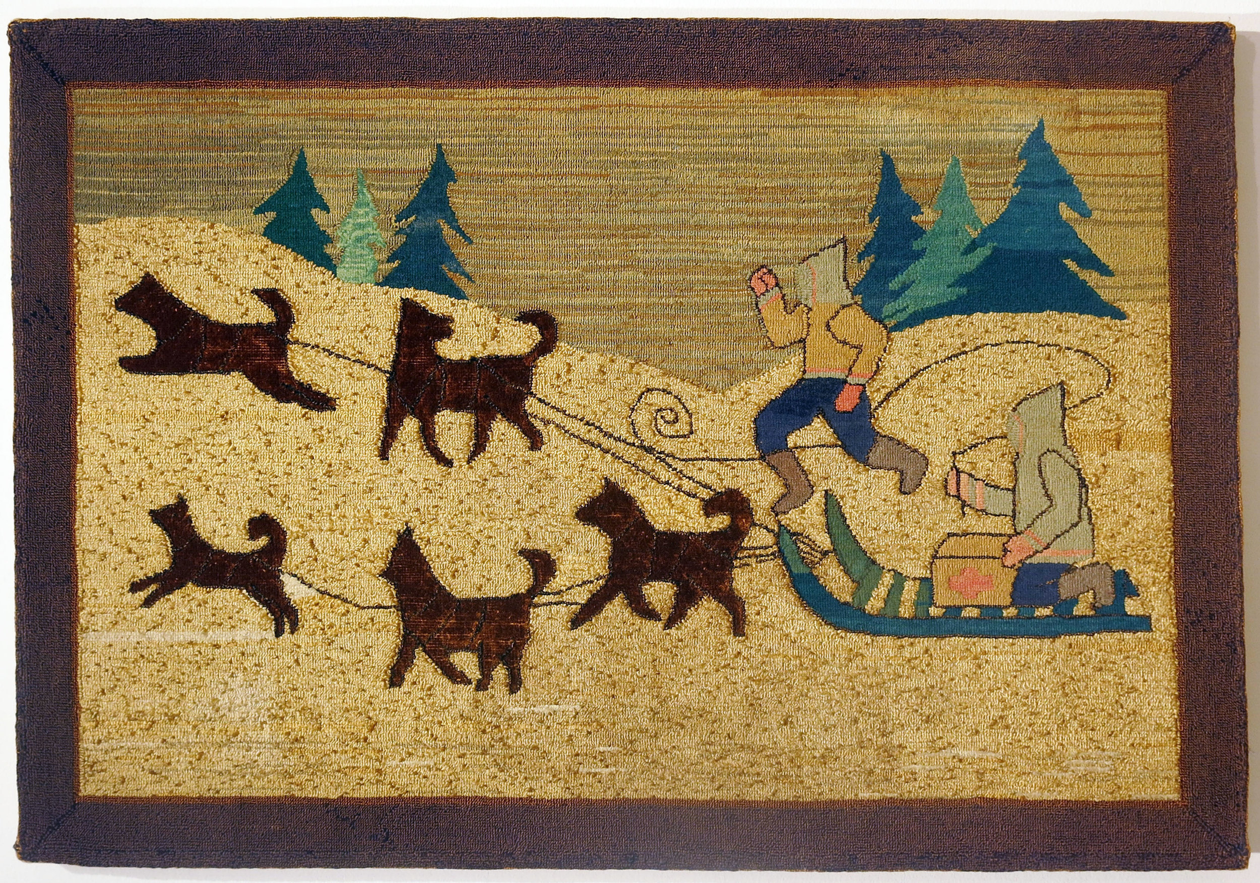 Anonymous, The Grenfell Mission, 5 Dog Red Cross Sled, c. 1918, silk, rayon, burlap; dyed, 26 1/2h x 40w in.
