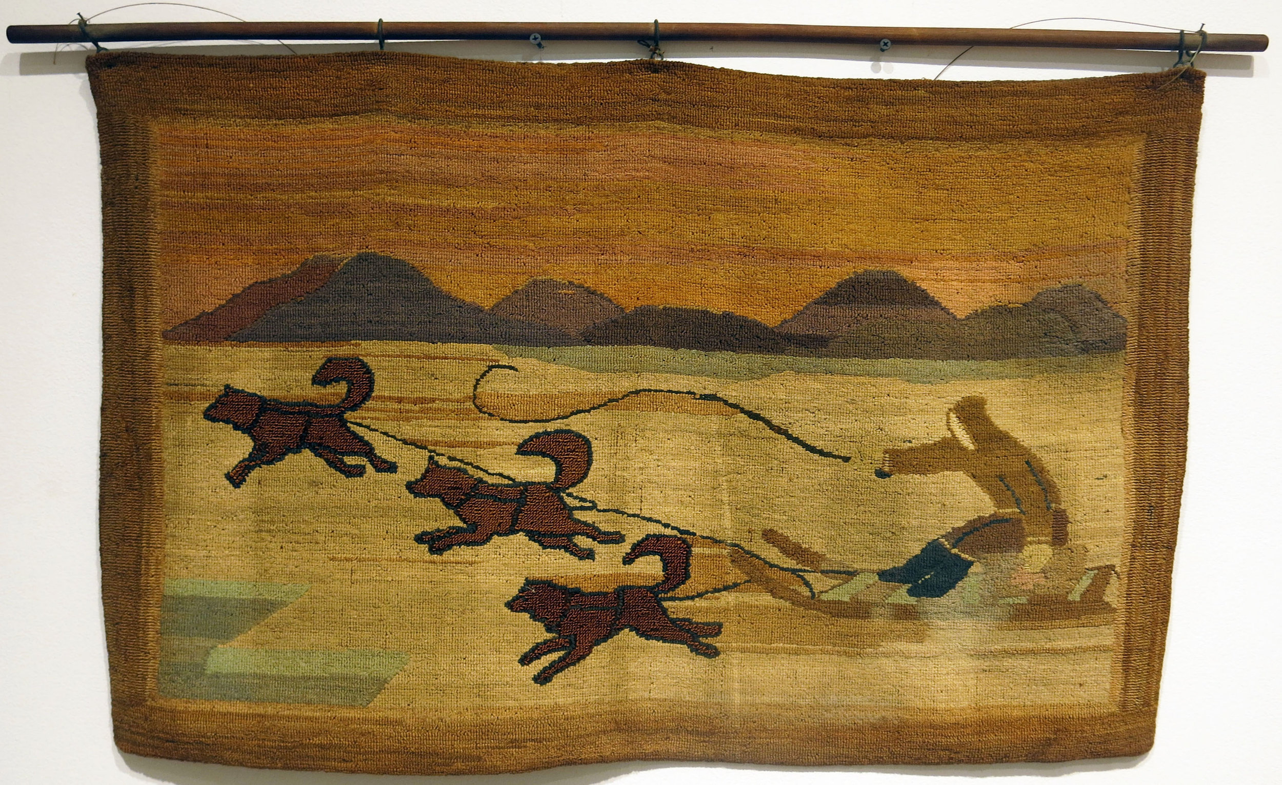 Anonymous, The Grenfell Mission, 3 Dog Sled, c. 1925, silk, rayon, burlap; dyed, 20 1/2h x 32w in.