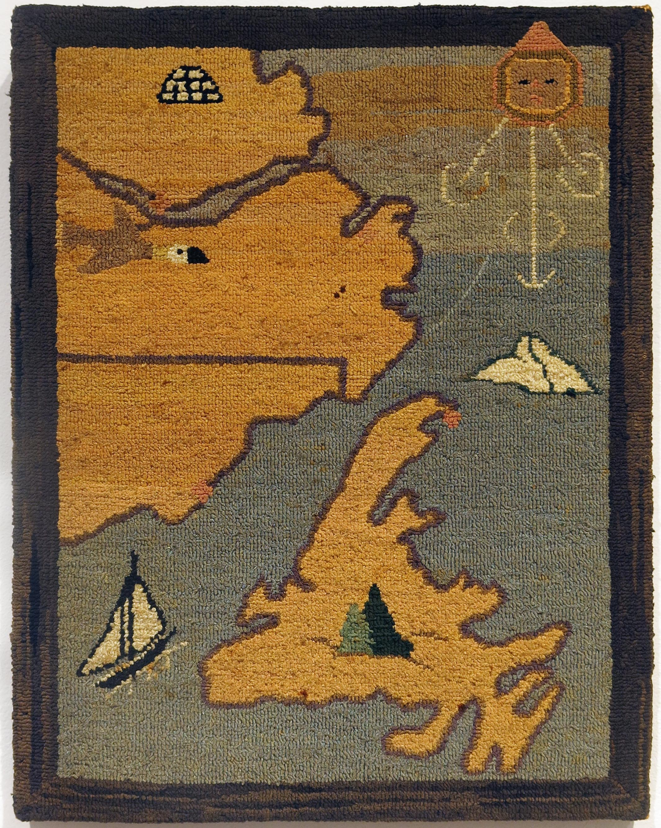 Anonymous, The Grenfell Mission, Map of Labrador, c. 1936, silk and rayon; dyed, 14 1/2h x 18w in.