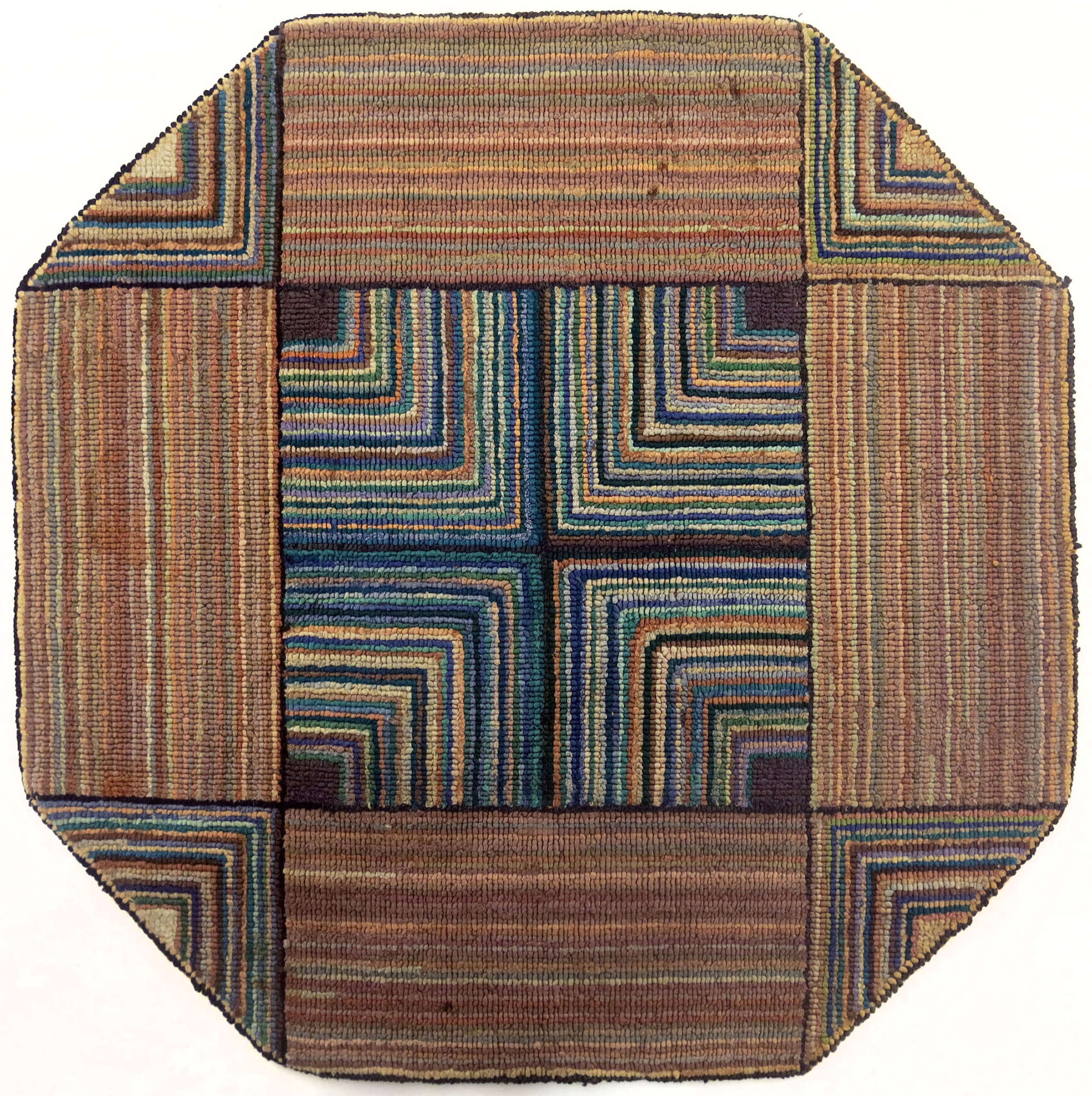 Anonymous, The Grenfell Mission, Geometric Octagon Mat, c. 1939, silk and rayon; dyed, 16h x 16w in.