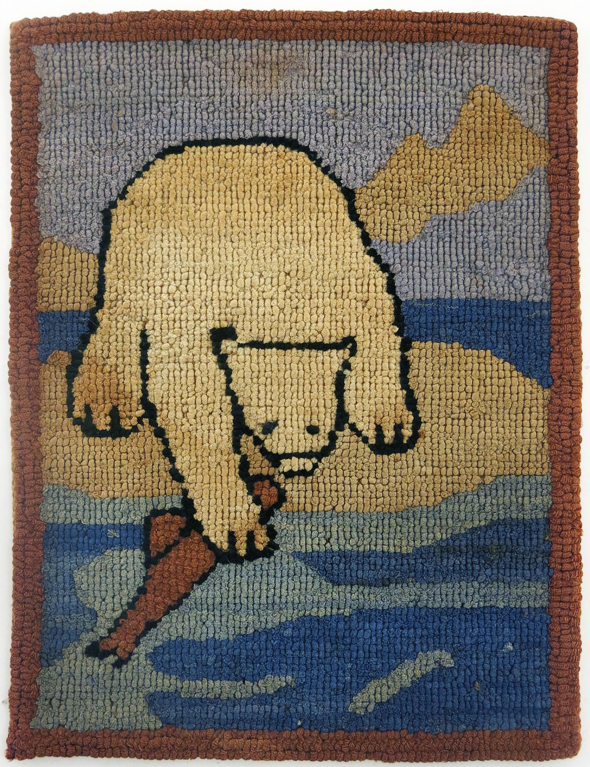 Anonymous, The Grenfell Mission, Polar Bear Grabbing Fish, c. 1936, cotton, silk, and rayon; dyed, 9 1/2h x 7w in.