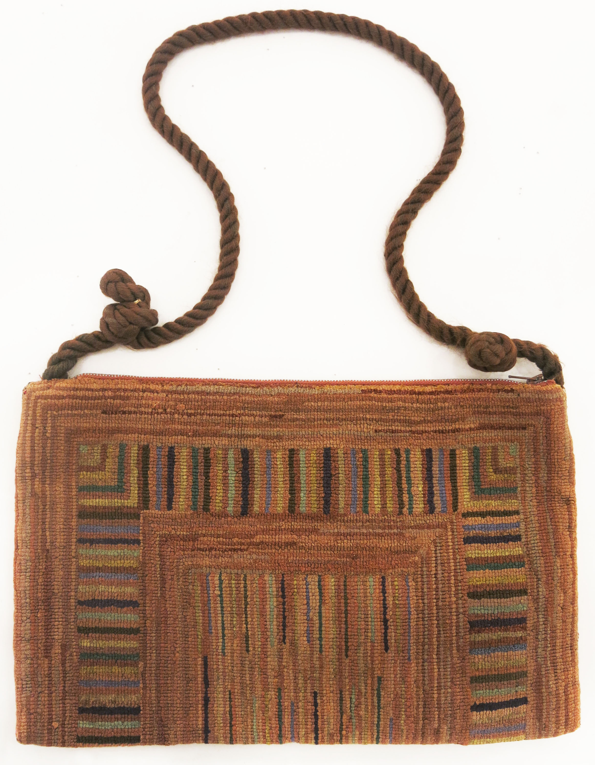 Anonymous, The Grenfell Mission, Geometric Handbag, c. 1940, silk and rayon; dyed, 9 1/2h x 14w in.