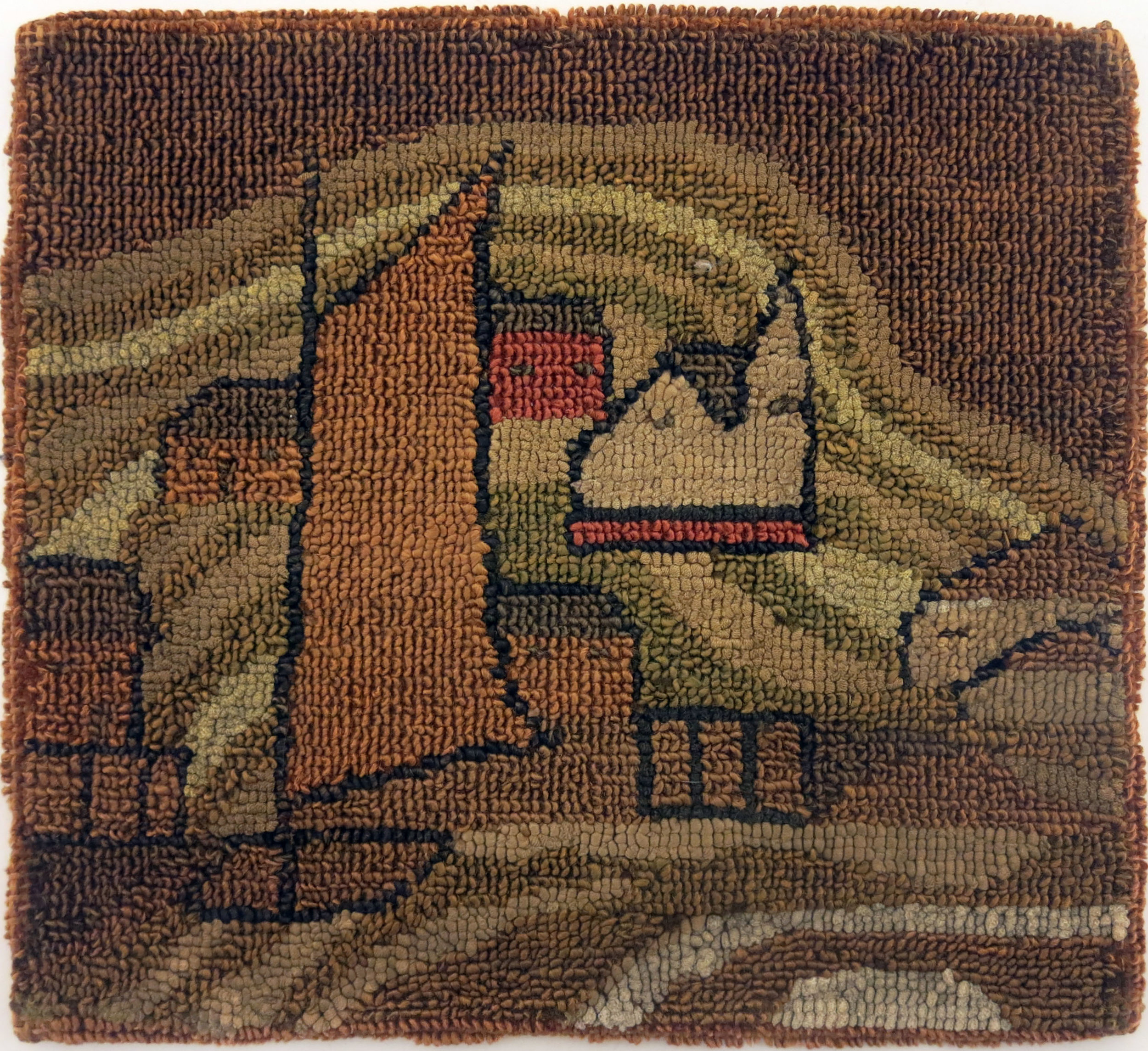 Anonymous, The Grenfell Mission, St. Anthony Table Mat, c. 1933, silk, rayon, and burlap; dyed, 12h x 15 1/2w in.