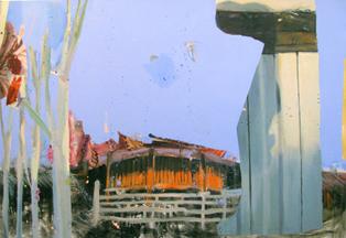 Judith Simonian, Orange Temple, 2009, acrylic on canvas, 50h x 72w in.