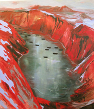 Judith Simonian, Red Fjord, 2010, acrylic on canvas, 70h x 62w in.