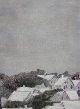 Clare Grill, Town, 2010, oil on linen, 19h x 14w in.