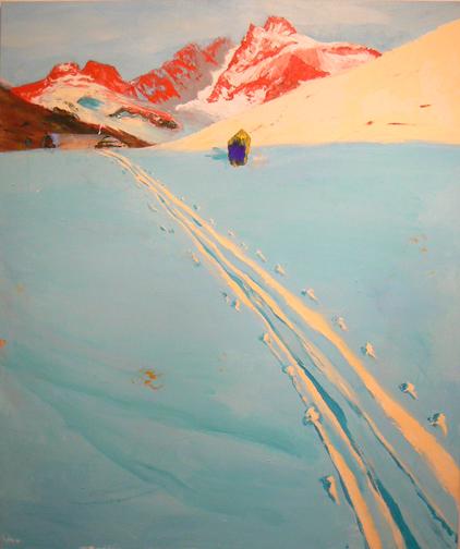 Judith Simonian, Icy Blue Trial, 2009, acrylic on canvas, 54h x 62w in.