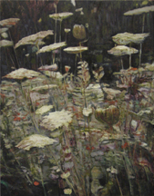 Clare Grill, Queen Anne's Lace, 2010, oil on linen, 32h x 35w in.