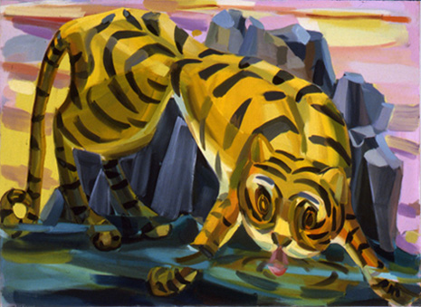 Judith Linhares,  Tigress,  2009, oil on linen, 42h x 57w in.