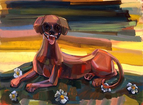 Judith Linhares,  Hound,  2010, oil on linen, 36h x 60w in.
