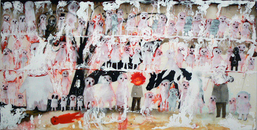 Neil Farber, Cram, 2010-2011, mixed media on panel, 24h x 48w in.