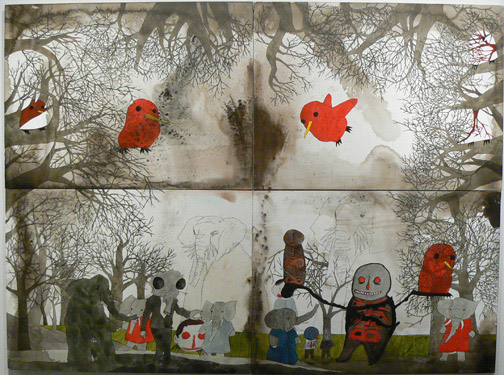 Neil Farber,  A Clearing,  2010-2011, mixed media on panels, 60h x 80w in.