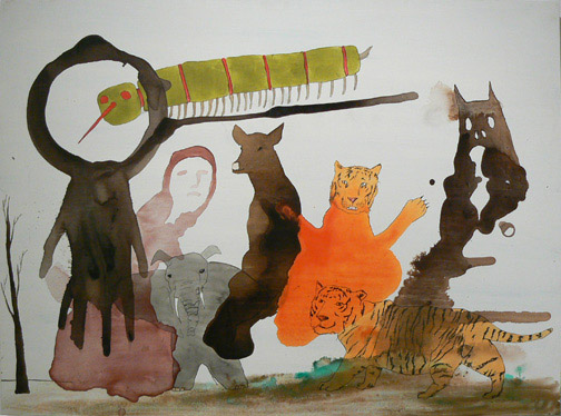 Neil Farber, Eight Friends, 2010-2011, mixed media on panel, 30h x 40w in.