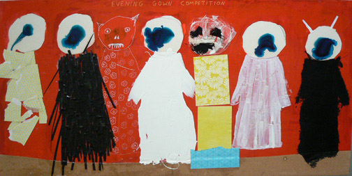 Neil Farber, Evening Gown Competition, , 2010-2011, mixed media on panel, 24h x 48w in.