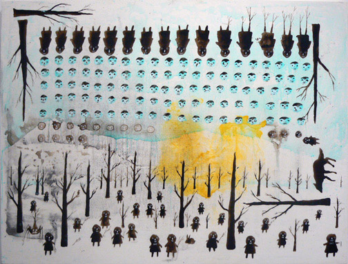 Neil Farber,  Forest Code Part Two,  2010-2011, mixed media on panel, 30h x 40w in.