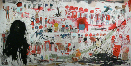 Neil Farber,  Halloween,  2010-2011, mixed media on panels, 60h x 120w in.