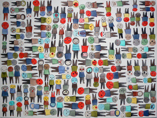 Neil Farber,  Good People,  2010-2011, mixed media on panel, 30h x 40w in.