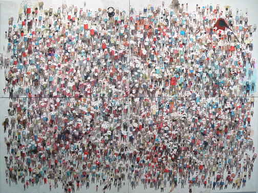 Neil Farber, New Faces, 2010-2011, mixed media on panels, 60h x 80w in.
