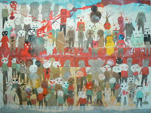 Neil Farber,  The Republic of Forgiveness,  2010-2011, mixed media on panels, 60h x 80w in.